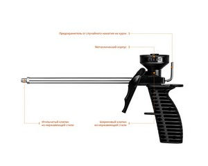 DEXX MIX пистолет для монтажной пены, пластиковый  корпус