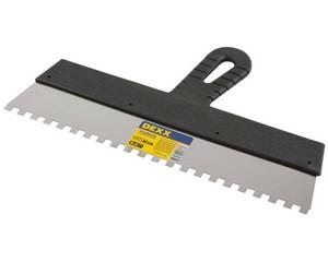 Шпатель DEXX зубчатый нержавеющий, с пластмассовой ручкой, зуб 8х8мм, 350мм