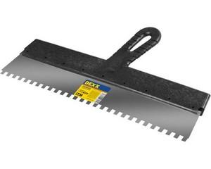 Шпатель DEXX зубчатый нержавеющий, с пластмассовой ручкой, зуб 8х8мм, 450мм