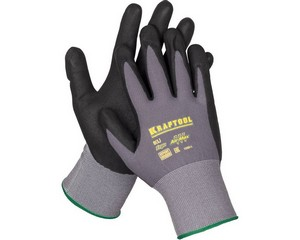 KRAFTOOL EXPERT, размер L, эластичные перчатки со вспененным нитриловым покрытием.