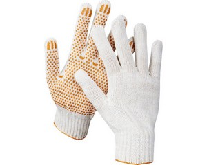 STAYER GX-7, размер L-XL, перчатки трикотажные для тяжелых работ, с ПВХ покрытием (точка), 10 пар в упаковке.