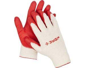 ЗУБР Л-13, размер L-XL, перчатки с одинарным латексным обливом, 10 пар в упаковке.