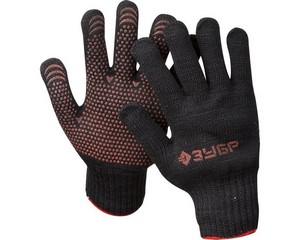 ЗУБР МПП-7, размер L-XL, перчатки трикотажные утепленные, с ПВХ покрытием (точка).