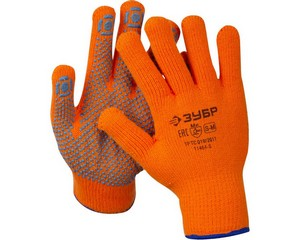 ЗУБР АНГАРА, размер S-M, перчатки утепленные с начёсом, акриловые, с ПВХ покрытием (точка).
