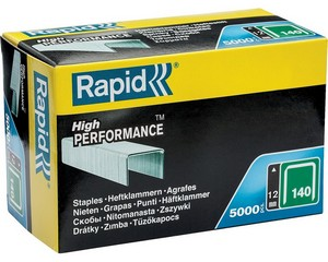 RAPID 12 мм плоские скобы,, супертвердые, профессиональные тип 140 (G / 11 / 57), 5000 шт