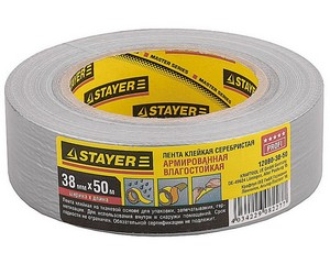 Армированная лента, STAYER Master 12080-38-50, универсальная, влагостойкая, 38мм х 45м, серебристая