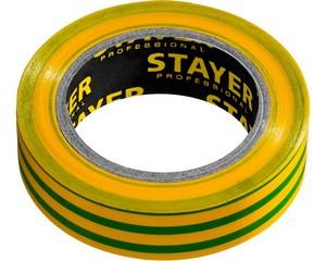 STAYER Protect-10 Изолента ПВХ, не поддерживает горение, 10м (0,13х15 мм), желто-зеленая