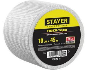 Серпянка самоклеящаяся FIBER-Tape, 10 см х 45м, STAYER Professional 1246-10-45
