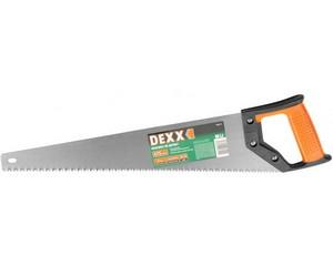 Ножовка DEXX по дереву, двухкомп рукоятка, заточенный разведенный зуб универсальной формы, объемная закалка, 5TPI, 475мм