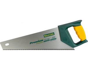 "Ножовка KRAFTOOL ""PREMIUM"" для тонкого пиления, по дереву, пвх, пластику, универс, наклон, закал, мелкий зуб, 350мм"
