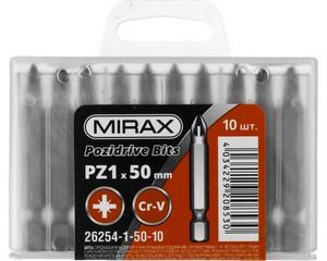 """Биты MIRAX PZ№1, тип хвостовика E 1/4"""", длина 50мм, 10шт"""