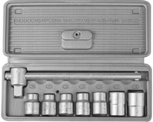"""Набор торцовых головок НИЗ """"Шоферский инструмент №1"""", 1/2"""", сталь 40Х, в пластиковом кейсе, 8 предметов"""