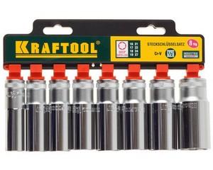 KRAFTOOL SUPER-LOCK Набор удлиненных торцовых головок на рельсе, 8 шт.