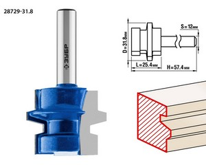 Фреза комбинированная универсальная, D= 31,8мм, рабочая длина-25,4мм, хв.-12 мм, ЗУБР Профессионал
