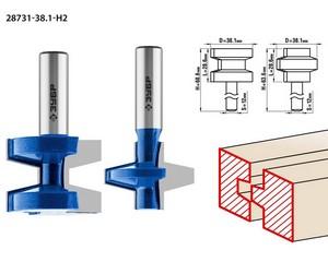 Набор фрез пазо-шиповых, D= 38,1мм, рабочая длина-28,6мм, хв.-12 мм, ЗУБР Профессионал