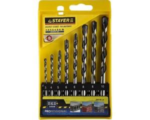 """Набор STAYER """"PROFESSIONAL"""": Свёрла по бетону, ударные 3, 4, 5, 6, 6, 8, 8,10мм, 8шт"""