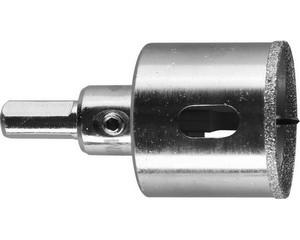Коронка алмазная по кафелю и стеклу, d=38 мм, зерно Р 60, в сборе с центрирующим сверлом и имбусовым ключом, ЗУБР Профессионал 29850-38