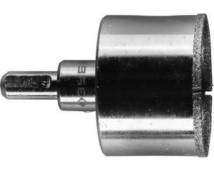 Коронка алмазная по кафелю и стеклу, d=50 мм, зерно Р 60, в сборе с центрирующим сверлом и имбусовым ключом, ЗУБР Профессионал 29850-50