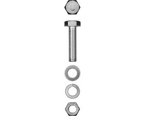 Болт (DIN933) в комплекте с гайкой (DIN934), шайбой (DIN125), шайбой пруж. (DIN127), M6 x 30 мм, 10 шт, ЗУБР