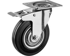 Колесо поворотное c тормозом d=100 мм, г/п 70 кг, резина/металл, игольчатый подшипник, ЗУБР Профессионал