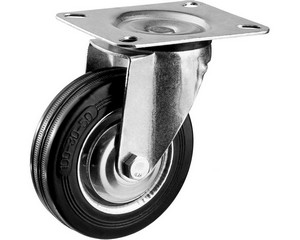 Колесо поворотное d=100 мм, г/п 70 кг, резина/металл, игольчатый подшипник, ЗУБР Профессионал