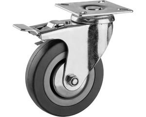 Колесо поворотное c тормозом, ЗУБР, МАСТЕР, 30956-100-B