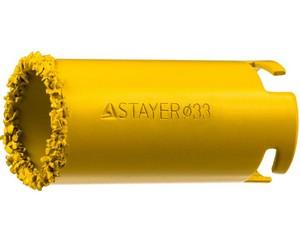 """Коронка STAYER """"PROFESSIONAL"""" кольцевая с карбидно-вольфрамовой крошкой, d=33мм"""