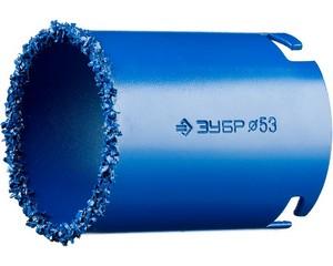"""Кольцевая коронка ЗУБР """"ПРОФЕССИОНАЛ"""" c карбид-вольфрамовым нанесением, 53 мм, высота 55 мм"""