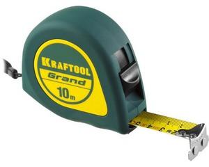 KRAFTOOL GRAND 10м / 25мм рулетка с ударостойким корпусом (ABS) и противоскользящим покрытием