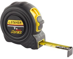 STAYER AREX 3м / 16мм рулетка в ударостойком полностью обрезиненном корпусе  и двумя фиксаторами