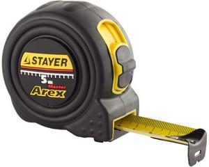 STAYER AREX 5м / 25мм рулетка в ударостойком полностью обрезиненном корпусе  и двумя фиксаторами