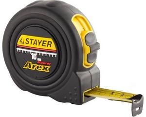 STAYER AREX 10м / 25мм рулетка в ударостойком полностью обрезиненном корпусе  и двумя фиксаторами
