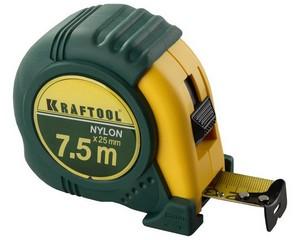 KRAFTOOL NYLON 7,5м / 25мм рулетка с ударостойким обрезиненным корпусом