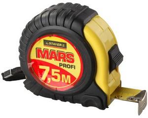 STAYER MARS 7,5м / 25мм профессиональная рулетка в ударостойком обрезиненном корпусе  с двумя фиксаторами
