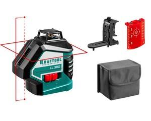KRAFTOOL LL360 #2 нивелир лазерный, 2х360° , 20м/70м,  IP54, точн. +/-0,2 мм/м, держатель, в коробке