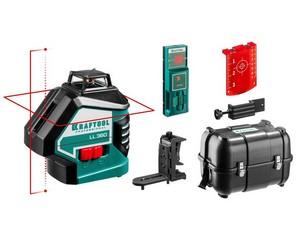 KRAFTOOL LL360 #4 нивелир лазерный, 2х360° , 20м / 70м,  IP54, точн. +/-0,2 мм/м, держатель, детектор, в кейсе