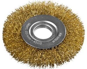 DEXX. Щетка дисковая для УШМ, витая стальная латунированная проволока 0,3мм, 100ммх22мм