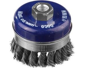 DEXX. Щетка чашечная усиленная для УШМ, жгутированная стальная проволока 0,5мм, 80ммхМ14