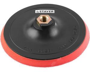 """Тарелка опорная STAYER """"MASTER"""" пластиковая для УШМ на липучке, полиуретановая вставка, d=150 мм, М14"""