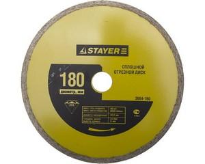 180 мм, диск алмазный отрезной сплошной по керамограниту, мрамору, плитке, STAYER