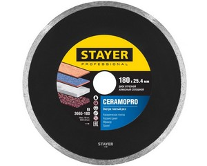 CERAMOPRO 180 мм, диск алмазный отрезной сплошной по керамограниту, мрамору, плитке, STAYER Professional