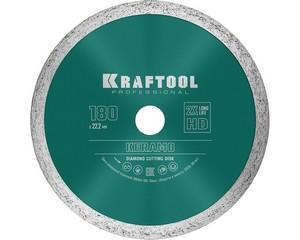 KERAMO 180 мм, диск алмазный отрезной сплошной по керамограниту, керамической плитке, KRAFTOOL