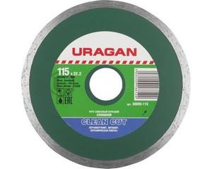 Clean Cut 115 мм, диск алмазный отрезной сплошной по керамограниту, мрамору, плитке, URAGAN