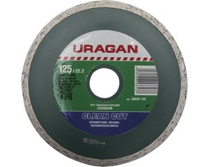Clean Cut 125 мм, диск алмазный отрезной сплошной по керамограниту, мрамору, плитке, URAGAN