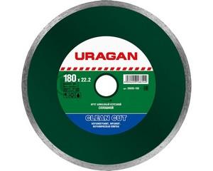 Clean Cut 180 мм, диск алмазный отрезной сплошной по керамограниту, мрамору, плитке, URAGAN