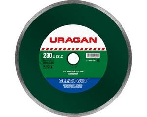 Clean Cut 230 мм, диск алмазный отрезной сплошной по керамограниту, мрамору, плитке, URAGAN