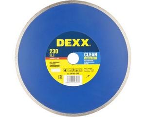 CLEAN AQUA CUT 230 мм, диск алмазный отрезной сплошной по керамограниту, мрамору, плитке, DEXX