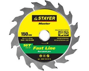 STAYER FAST 150 x 20/16мм 16T, диск пильный по дереву, быстрый рез
