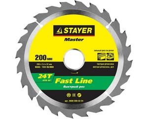 STAYER FAST 200 x 32/30мм 24Т, диск пильный по дереву, быстрый рез