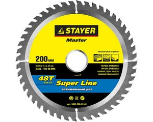STAYER EXPERT 200 x 32/30мм 48Т, диск пильный по дереву, точный рез